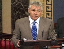 Senator Hagel on the floor of the Senate