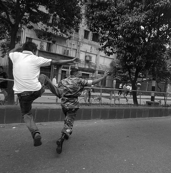 Dhaka University Student Kicking Army Man