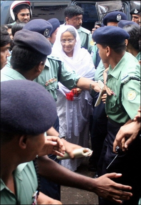 Former Bangladesh Prime Minister Sheikh Hasina being arrested by military regime in Bangladesh