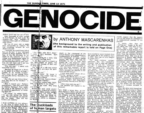 Anthony's Mascarenhas' Sunday Times artilce published on June 13, 1971