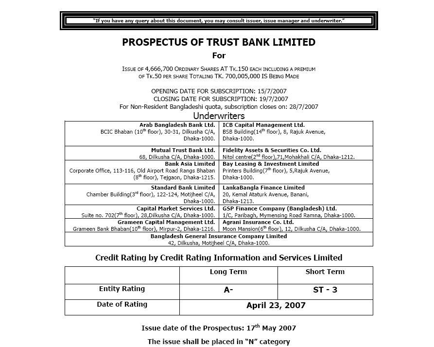 Trust Bank Prospectus Cover Sheet