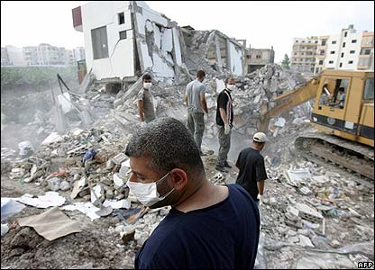 Buildings bombed in Tyre, Lebanon